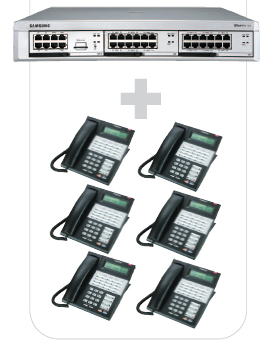 OfficeServ7100 Digital System with Six 28-Button Phones